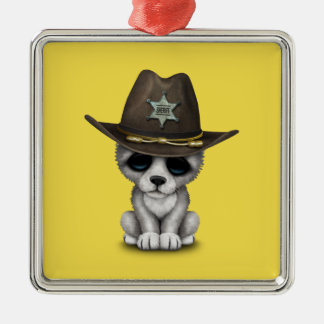 Cute Baby Wolf Sheriff Metal Ornament