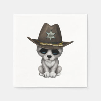 Cute Baby Wolf Sheriff Paper Napkins
