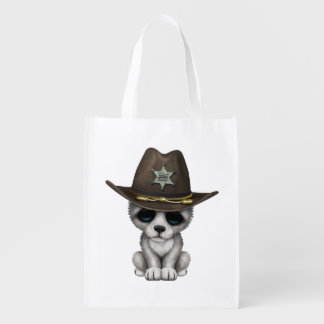 Cute Baby Wolf Sheriff Reusable Grocery Bag