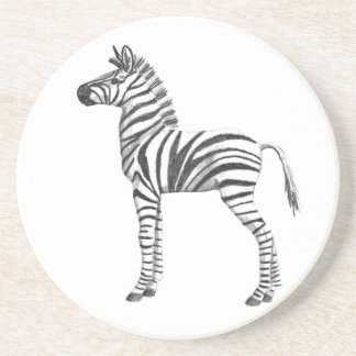 Cute Baby Zebra Drawing Coaster