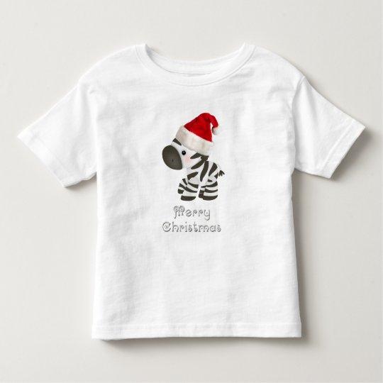 Cute Baby Zebra in Santa Hat Toddler T-shirt