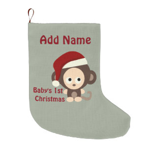Cute Baby's First Christmas Santa Monkey Large Christmas Stocking