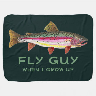 Cute Baby's Rainbow Trout Fly Fishing Baby Blanket