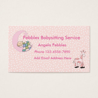 Cute Babysitting Child Care Design Business Card