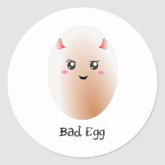 Cute Bad egg Round Stickers