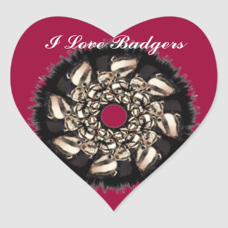 Cute Badger Cubs Fractal Heart Sticker