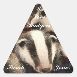 Cute Badger Cubs Triangle Sticker
