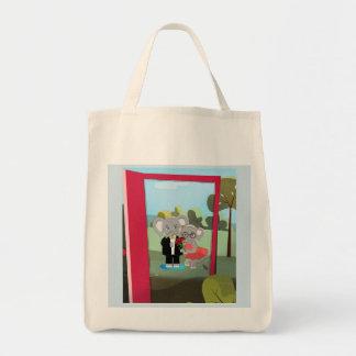 Cute bag with baby cartoon elephants