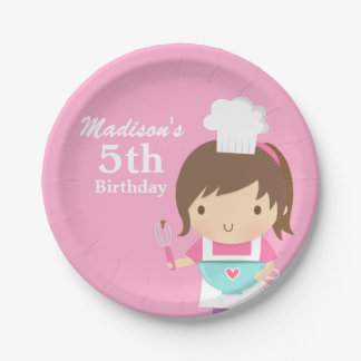 Cute Baker Chef Girl Cooking Baking Birthday Party 7 Inch Paper Plate