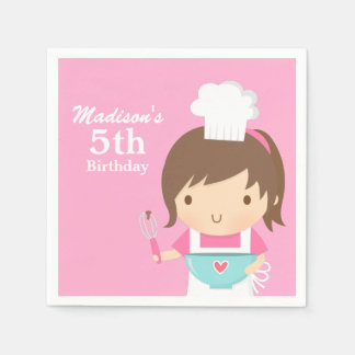 Cute Baker Chef Girl Cooking Baking Birthday Party Disposable Napkin