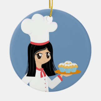 Cute Baker Girl Ornament