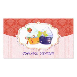 Cute Bakery Cupcake & Damask in Red Business Cards