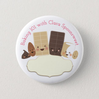 Cute baking sweets cooking class bakery name badge 2 inch round button