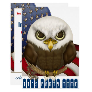 Cute Bald Eagle Patriotic Celebration Card