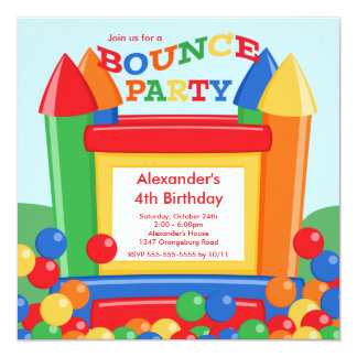 Cute Ball Pit Bounce House Birthday Party Card