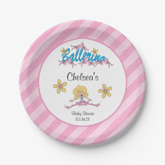 Cute Ballerina Baby Shower Theme 2 Paper Plate
