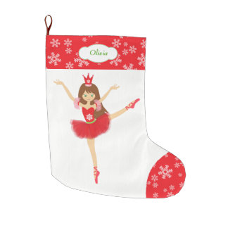 Cute Ballerina Dancer Personalized Large Christmas Stocking
