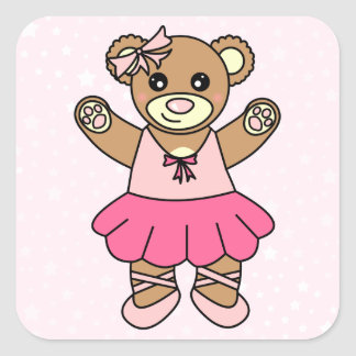 Cute Ballerina Dancing Teddy Bear - Pink Square Sticker