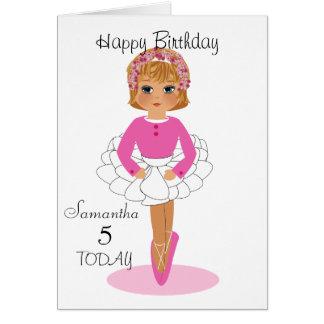 Cute Ballerina Personalised Birthday Card