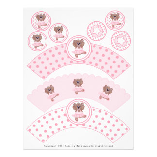 Cute Ballerina Teddy Bear Party Cupcake Wrappers