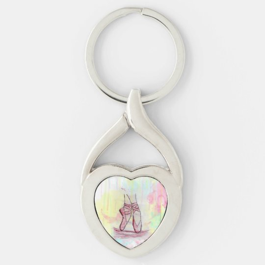 Cute Ballet shoes sketch Watercolor hand drawn Silver-Colored Twisted Heart Keychain