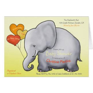Cute Balloons Elephant Baby Shower Invitation