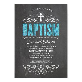CUTE BAPTISM elegant blue glitter type chalkboard Card