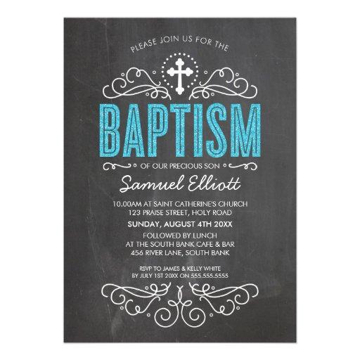 CUTE BAPTISM elegant blue glitter type chalkboard Custom Invitation