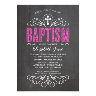 "CUTE BAPTISM elegant pink glitter type chalkboard 5"" X 7"" Invitation Card"
