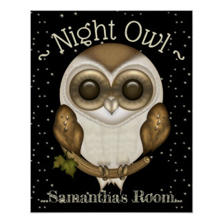 Cute Barn Owl Night Owl Poster