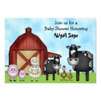 Cute Barnyard Farm Animals Baby Shower Invitations