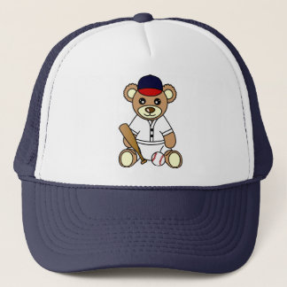 Cute Baseball Boy Teddy Bear Trucker Hat