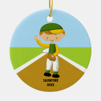 Cute Baseball Player in Green & Yellow Ornament