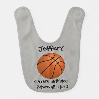 Cute Basketball w name, dribbler/all-star! Gray Bib