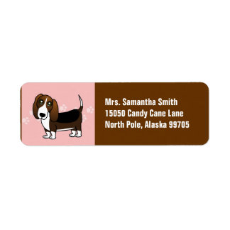 Cute Basset Hound Cartoon - Brown White and Black Return Address Label