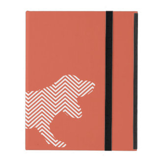 Cute basset hound silhouette on chevron pattern iPad folio case