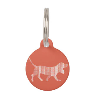 Cute basset hound silhouette on chevron pattern pet ID tag