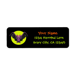 Cute Bat Halloween Party Return Address Label