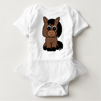 Cute Bay Horse Baby Bodysuit