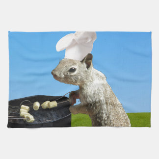 Cute BBQing Squirrel Kitchen Towel
