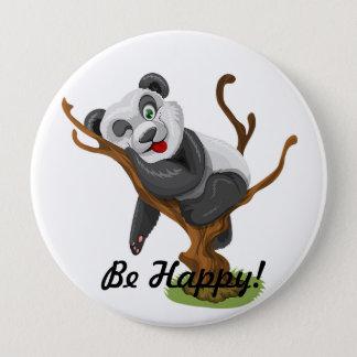 Cute be happy panda 4 inch round button