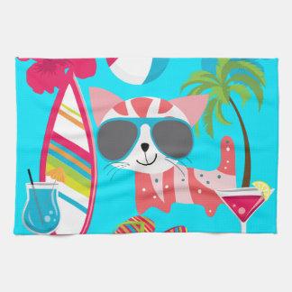Cute Beach Bum Kitty Cat Sunglasses Beach Ball Kitchen Towel