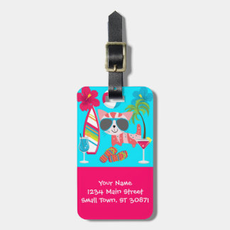 Cute Beach Bum Kitty Cat Sunglasses Beach Ball Luggage Tag