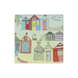 Cute Beach Cabanas Illustration Magnet Stone Magnets