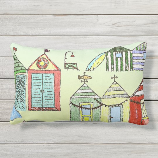 Cute Beach Cabanas Throw Pillow