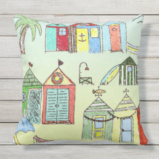 Cute Beach Cabanas Throw Pillow