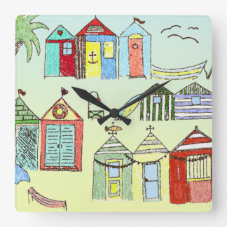 Cute Beach Cabanas Wall Clock
