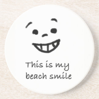 Cute Beach Lover Smile Doodle Face Text Design Coaster