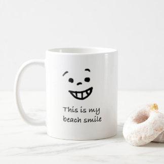 Cute Beach Lover Smile Doodle Face Text Design Coffee Mug