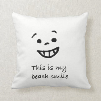 Cute Beach Lover Smile Doodle Face Text Design Throw Pillow